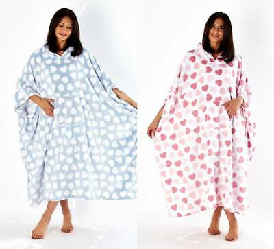 Ladies Lovehearts Print Plush Fleece Long Hooded Poncho Robe One Size Fits All