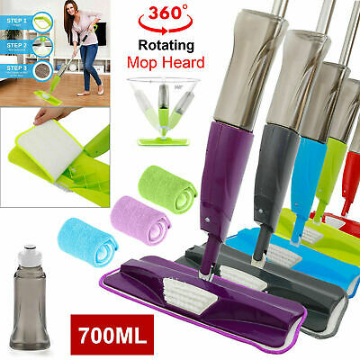 700ml Water Spray Mop Floor Cleaner Microfibre Pad Kitchen Marble Tiles Spraying
