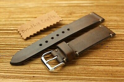 handmade watch strap genuine leather Brown color -22/20 mm-Made In Italy