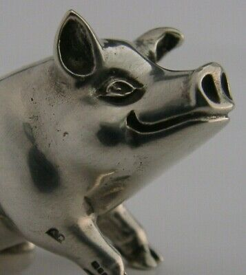 QUALITY GOOD SIZED ENGLISH STERLING SILVER MINIATURE PIG ANIMAL FIGURE 1998 40g
