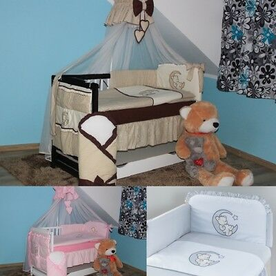 Baby Bears Cot + 10-Pcs Embroidered Bedding + Mattress + Extra Barrier