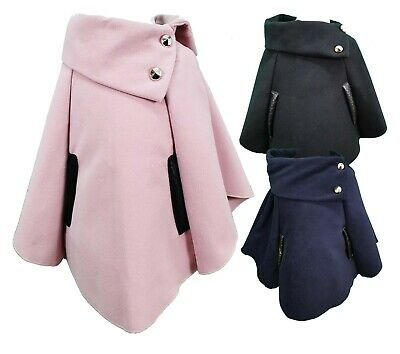 Girls Kids Asymmetrical Poncho Pull on Cape Button Detail Coat Age 4-14 Years