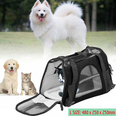 NEW Large Pet Carrier Soft Sided Cat Dog Comfort Travel Tote Bag Travel Approved