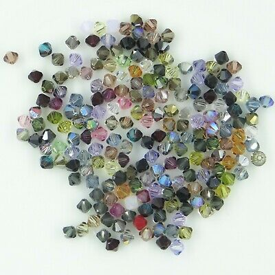 T4 MIX A *** Gros lot 200 toupies cristal Swarovski 4 mm MIX COULEURS