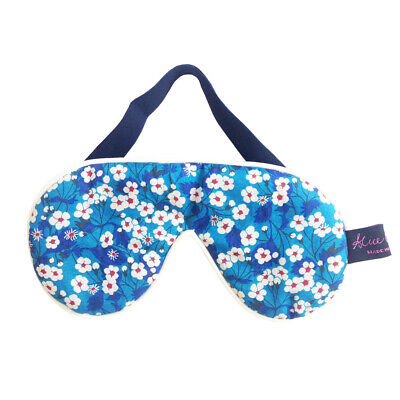 Famous Liberty London Fabric Mitsi Blue Print Cotton Padded Eye/Sleep Mask