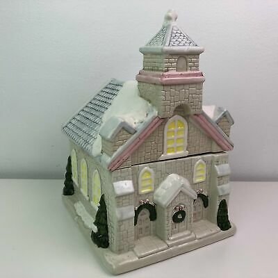 Vintage Large Christmas Holiday Party Theme Old Style Church Building Cookie Jar