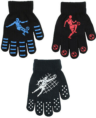 Boys Kids Thermal Magic Gripper Gloves Football Designs Winter Gloves One Size