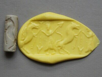 Great Ancient Persian Stone Roller Seal Soldier With Spear And Prancing Horse