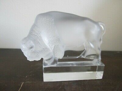 Lalique France Frosted Crystal Bull Figurine Paperweight Signed