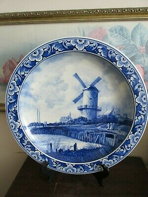 "Antique 1910 Delft Blauw ""Ruysdael"" Hand Painted Charger Plate Dutch Scene 14"""