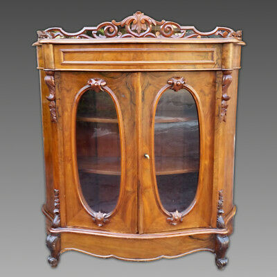 Antique Louis Philippe Showcase Dresser Cabinet Buffet Sideboard in Walnut 19th