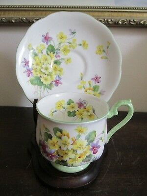 Royal Albert Primulette Bone China England Demitasse Cup And Saucer