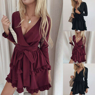 Women Butterfly Pleated Mini Dress Ladies Sexy V-Neck Ruffle Party Evening Dress