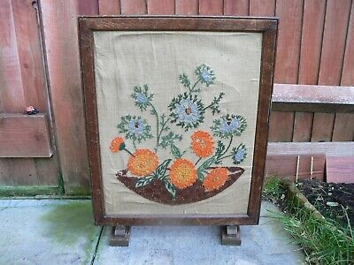 Antique Wooden Victorian Embroidery Open Log Coal Fire Spark Guard Screen