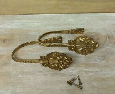 Pair Antique Solid Brass Curtain Holdback Wall Hooks Holders Ornate Flowers