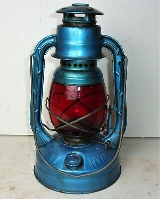 Antique Vintage DIETZ LITTLE WIZARD NY Tubular Lantern Red Glass Globe No 10 E