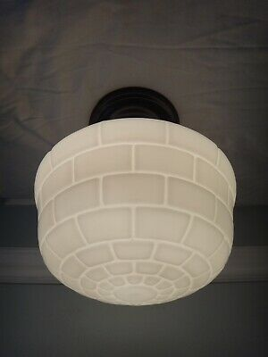 Antique Art Deco Subway Tile Milk Glass Globe Bathroom Ceiling Light Igloo Shade
