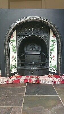 victorian cast iron fireplace insert Surround With Beautiful Tiling refurbished