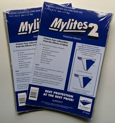 100 E Gerber Mylites 2 Mil Mylar Golden, Bronze, Silver Comic Book Bags sleeves