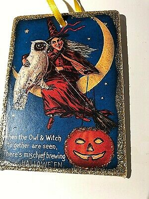 Hand Made VTG REPRO HALLOWEEN Witch And Owl on Moon glittered WOOD Ornament