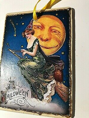 Hand Made VTG REPRO HALLOWEEN  Witch on Broom, Moon, Owl glittered WOOD Ornament