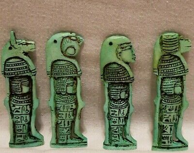 Ancient Egyptian Rare Antiques 4 Sons Of Horus With Heiroglyphics Egypt Stone BC