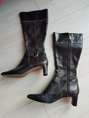 Brighton LADIES BEAUTIFUL BROWN BLACK MIX LEATHER BOOTS APPROX UK 7-7.5