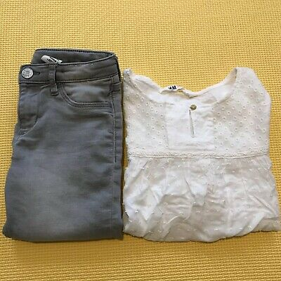 H&M 2pcs Bundle 8-9yrs Girls Outfit Clothes Kids Grey Jeans Skinny T-Shirt Top