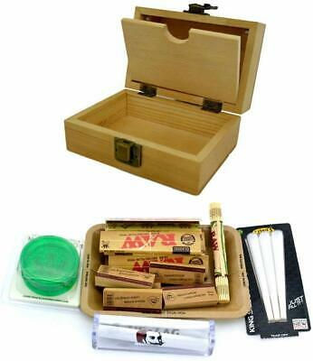 SHINE GRASSLEAF Wooden Rolling Box with RAW Tray Gift Set- Includes Papers/Tips/