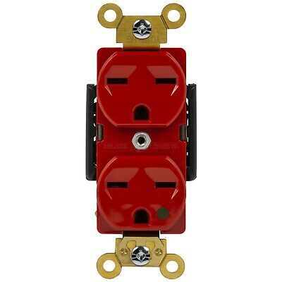 Hospital Grade Duplex Receptacle High Voltage 2 Pole 15A 250V 6-15R Red
