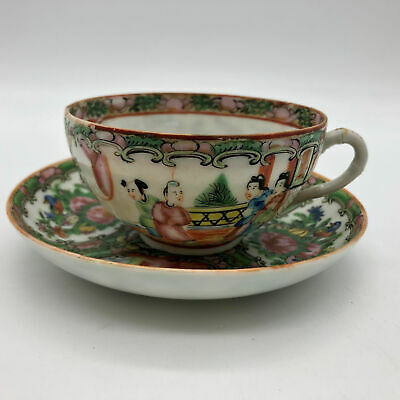Antique Rose Medallion Round Cup and Saucer Hand Painted Marked China