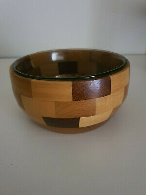 Small 1970s-80s  Wooden Fruit Bowl with class bowl very nice condition
