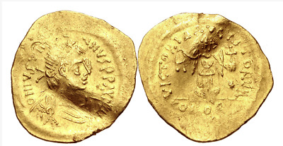 RARE ANCIENT BYZANTINE GOLD COIN : Justinian I. 527-565. AV Tremissis  !!!