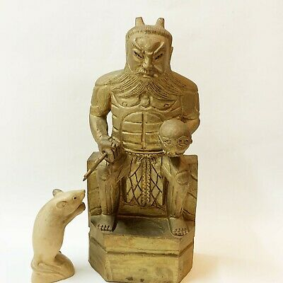 Japanese Gold Tinted Wood Carving Seated Warrior Statue, 33cm, with Battle Axe