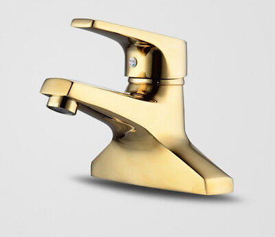 Deck Mounted Bathroom Basin Faucet Gold Brass Modern Style Vanity Sink Mixer Tap