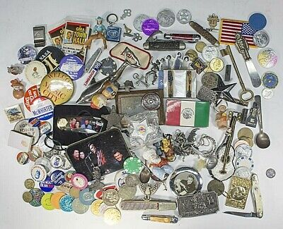 """Retro Vintage Random Mixed Lot """"Junk Drawer"""" Knives Patches Tokens Buckles Pins"""