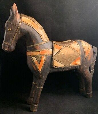 Antique Vintage Hand Carved Wooden Horse Statue Inlaid Tile Brass Copper 11-1/4""