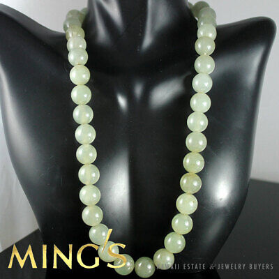 Vintage Ming's Hawaii Pale Green Gray 11Mm Jade Bead 14K Yellow Gold Chinese Ne