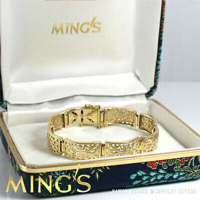Vintage Ming's Hawaii Chinese 14K Yellow Gold Scallop Bracelet W/ Box