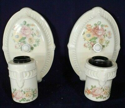 Vintage Pair Of Mid Century Glazed Porcelain Ceramic Bathroom Sconces