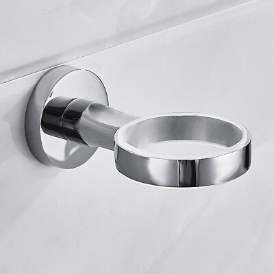 Chrome Toothbrush Tumbler Holder with Glass Cup Bathroom Accessory Wall Mounted