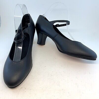 Capezio Black Student Footlight 2 inch Character Heels Shoes, size 9 WIDE $70.50