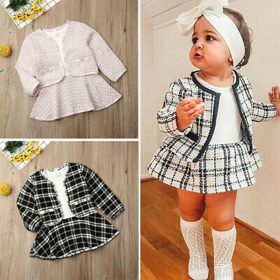 UK Winter Toddler Baby Girl Clothes Plaid Coat Tops+Tutu Dress Formal Outfit Set