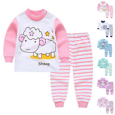 For Kids Baby Boys Girls Clothes Tops + Pants Cotton Baby Pajamas Sleepwear 2019