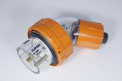 Clipsal 56Pa320 Single Phase 20 Amp Angle Plug  3 Round Pin 250V Ip66