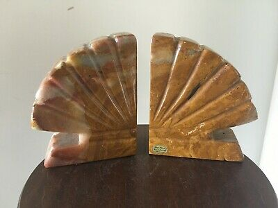 Vintage Onyx Bookends Hand Carved in Mexico Fan Shell Design