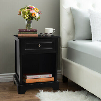 1 Drawer 1 Compartment Shelf Bedside Cabinet Table Black Wooden Nightstand Case