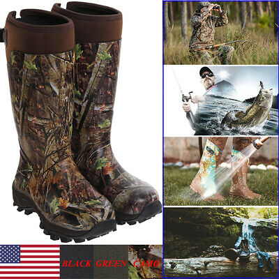 HISEA Men's Hunting Work Boots Waterproof & Insulated Rubber Neoprene Rain Boots