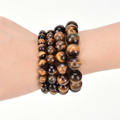 8-12mm Natural African Roar Natural Tigers Eye stone Round Beads Bracelet 7.5''