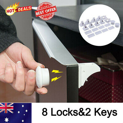 8PCS Magnetic No Drilling Cabinet Drawer Cupboard Locks Baby KidS Safety Lock